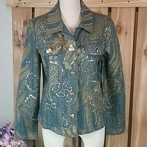Berek Jean Jacket Size M Embellished NWOT